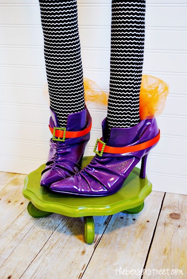 Witch Shoe Halloween Centerpiece Fun Idea at thebensonstreet.com