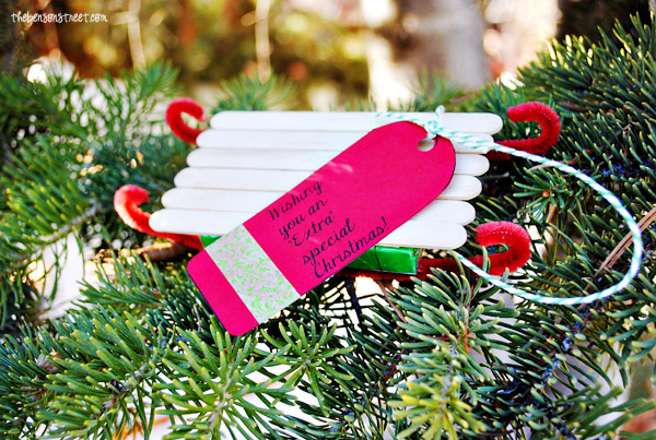 Easy Extra Gum Sled Ornament Gift at thebensonstreet.com