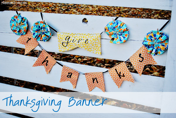 Funky Give Thanks Thanksgiving Banner at thebensonstreet.com
