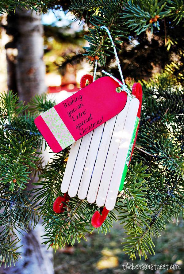 Gum Sled Ornament Gift Idea at thebensonstreet.com #shop #GiveExtraGum