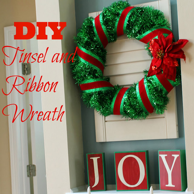 DIY tinsel and ribbon wreath