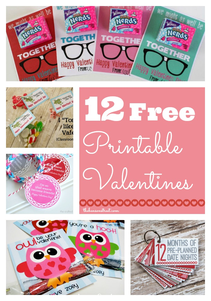 12 Free Printable Valentines at thebensonstreet.com