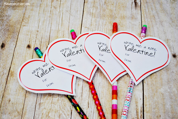 photo relating to Pencil Valentine Printable named Printable Pencil Valentine - The Benson Road