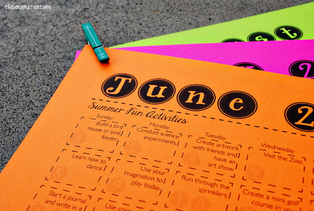 Great ideas, tons of summer fun activities in this printable calendar at thebensonstreet.com