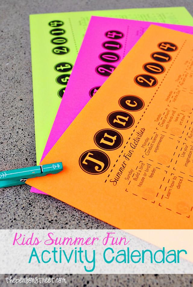 Kids Summer Fun Activity Calendar 2014 at thebensonstreet.com