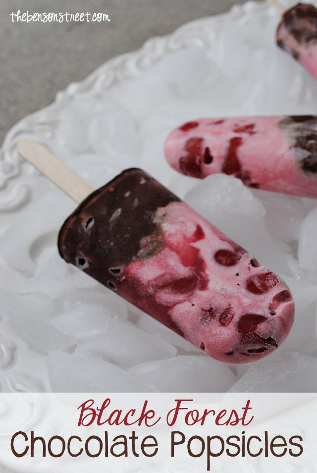 Cherry Chocolate Black Forest Popsicles at thebensonstreet.com