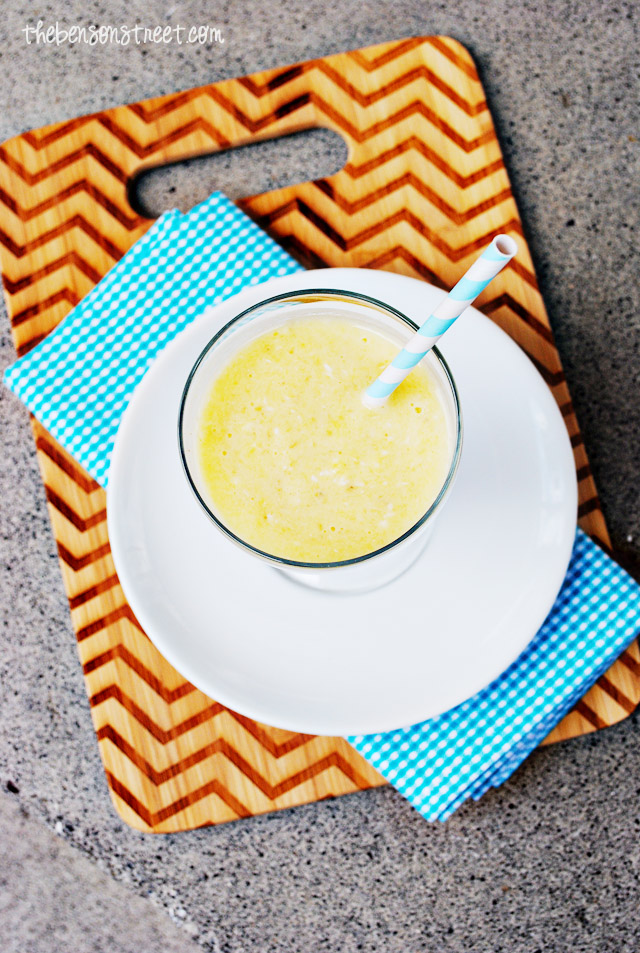 Fresh Pineapple Pina Colada Smoothie at thebensonstreet.com
