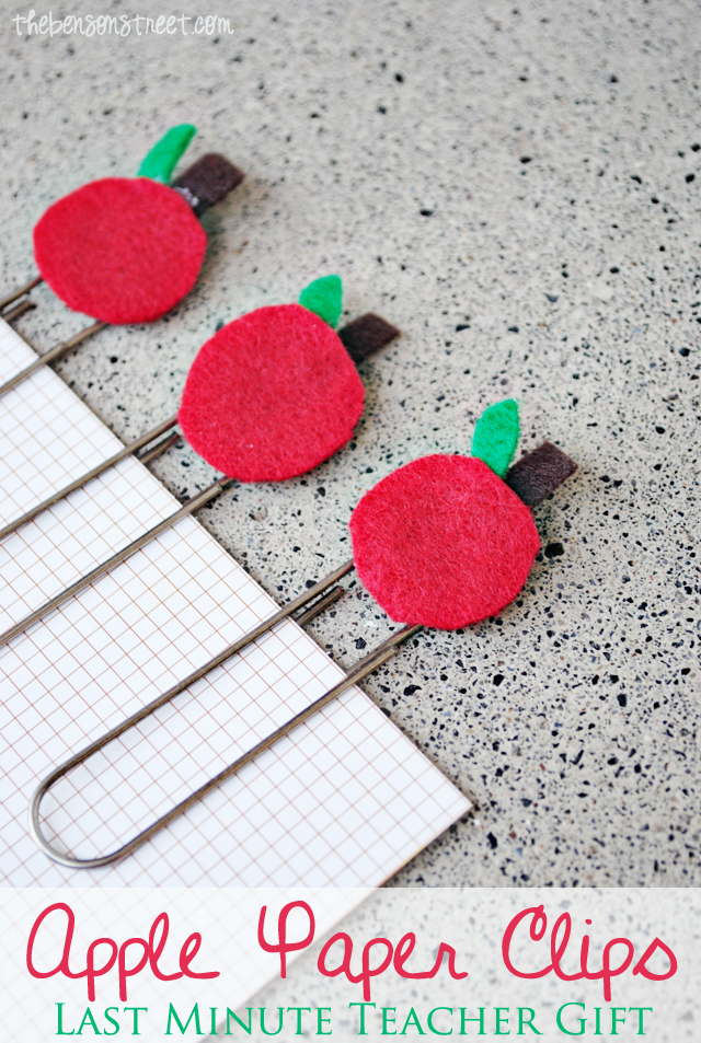 Apple Paper Clips Last Minute Teacher Gift at thebensonstreet.com
