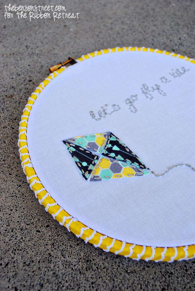 Easy Kite Embroidery Hoop Art at thebensonstreet.com