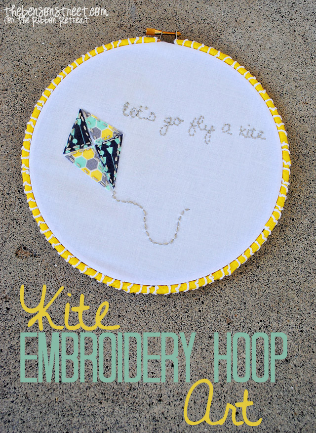 Kite Embroidery Hoop Art at thebensonstreet.com