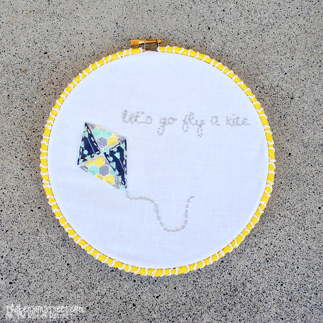 Let's Go Fly a Kite Embroidery Hoop Art at thebensonstreet.com