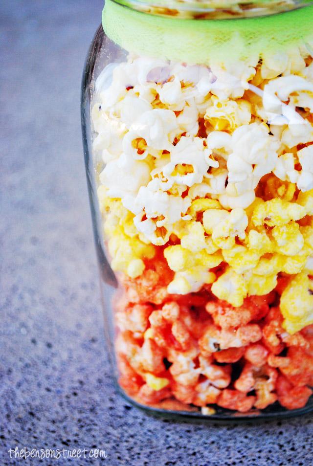 Layered Candy Corn Popcorn at thebensonstreet.com