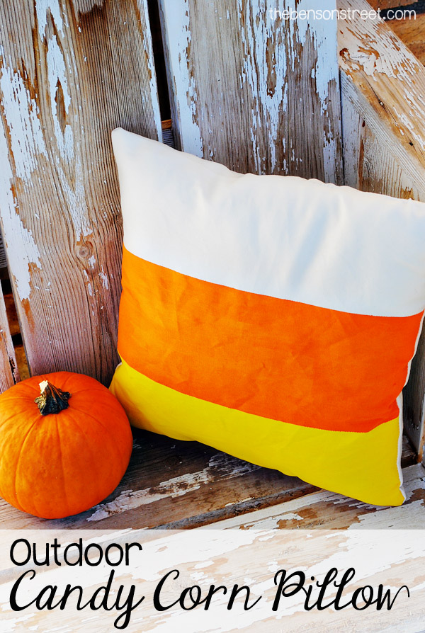 Outdoor Candy Corn Pillow by thebensonstreet.com