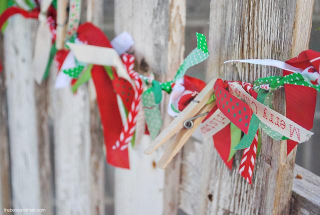 Ribbon Christmas Card Garland at thebensonstreet.com