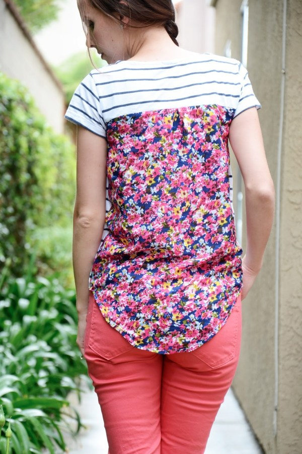 Floral back and pocket shirt