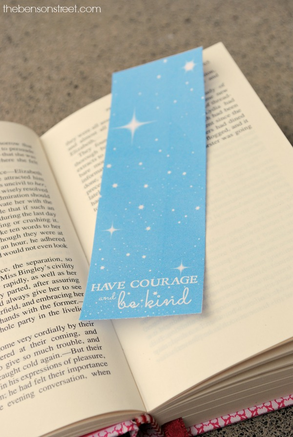 Printable Cinderella Have Courage and Be Kind Bookmarks at thebensonstreet.com