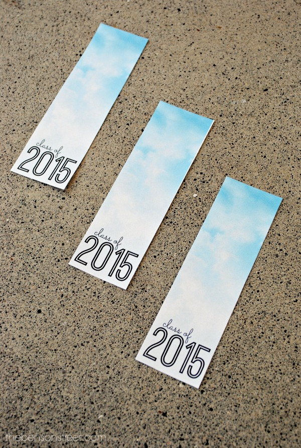 Cloud 2015 Printable Graduation Bookmarks at thebensonstreet.com