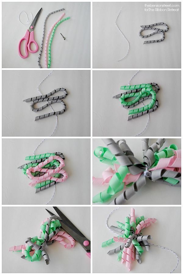 Easy tutorial for ribbon pom poms at thebensonstreet.com