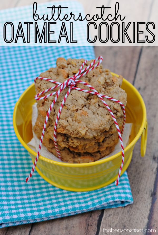 Butterscotch Oatmeal Cookies Recipe at thebensonstreet.com