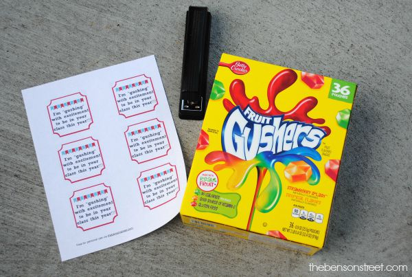 Easy Back to School Classroom Gift Idea using Gushers at thebensonstreet.com