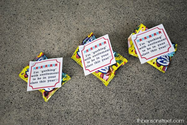 Fun Gushers Classroom Gift with printable from thebensonstreet.com