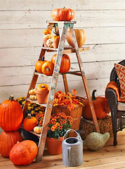 Ladder with Pumpkins
