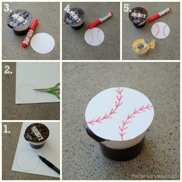 Baseball Pudding Cup Idea at thebensonstreet.com