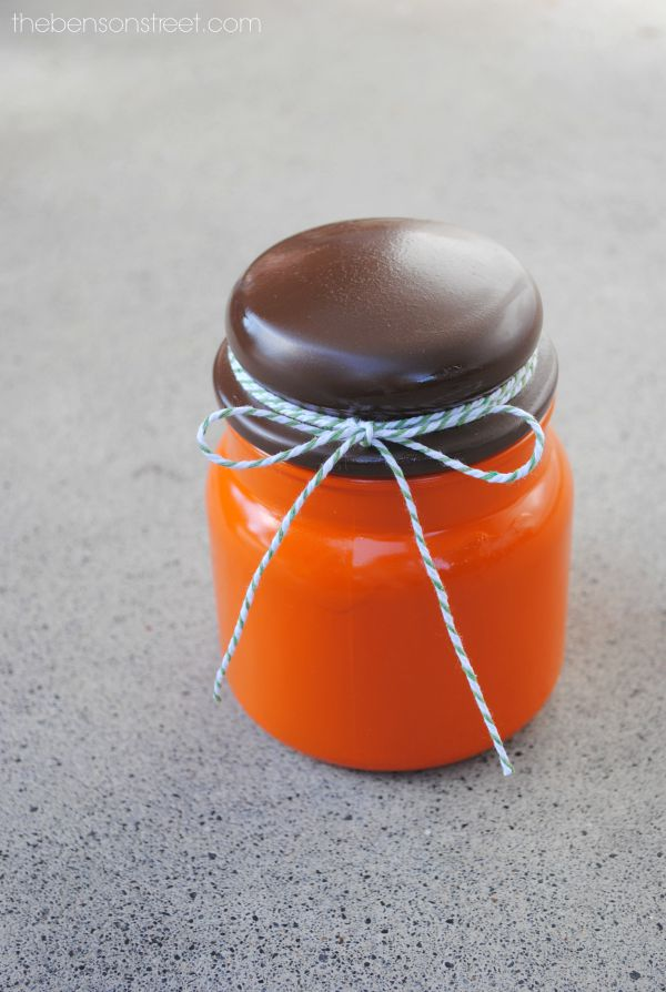 Pumpkin Jar out of an empty Candle Jar. Such a fun and cute fall idea at thebensonstreet.com