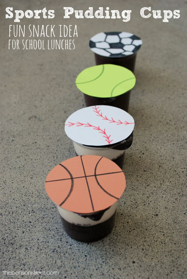 Sports Pudding Cups a fun snack idea for school lunches at thebensonstreet.com