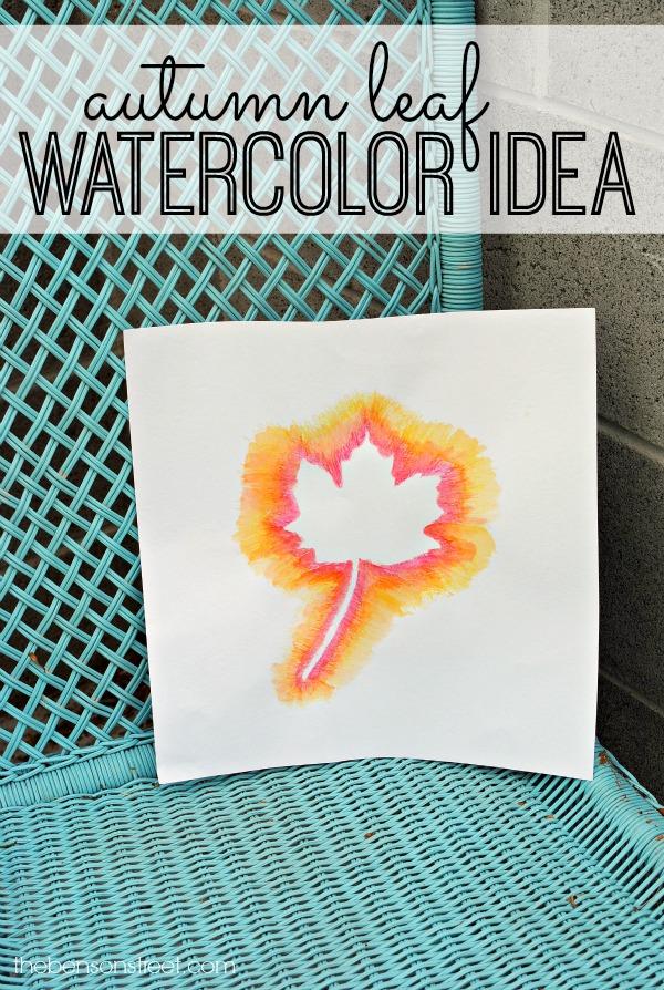 easy autumn leaf watercolor idea at thebensonstreet.com