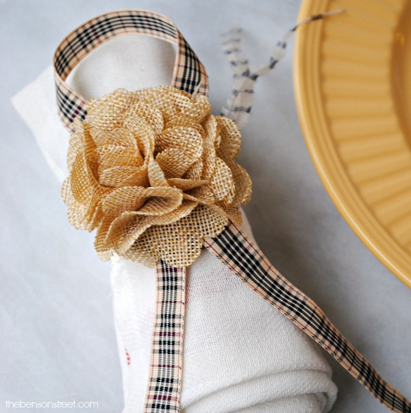 Perfect for Thanksgiving! A Burlap Flower and Ribbon Napkin Ring at thebensonstreet.com