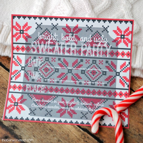 Throw an ugly sweater party. Get inviting with this printable ugly sweater party invitation at thebensonstreet.com