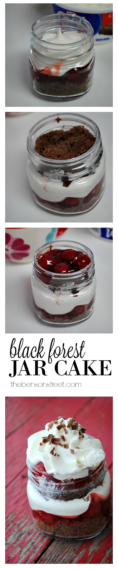 How to make a Black Forest Jar Cake at thebensonstreet.com