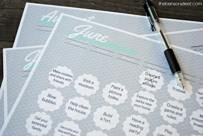 Need some fun ideas for the kids Print out this summer fun activity calendar at thebensonstreet.com