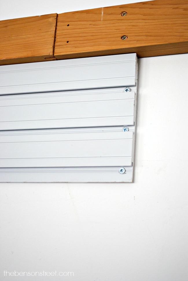 Simple to install garage wall organizer via thebensonstreet.com