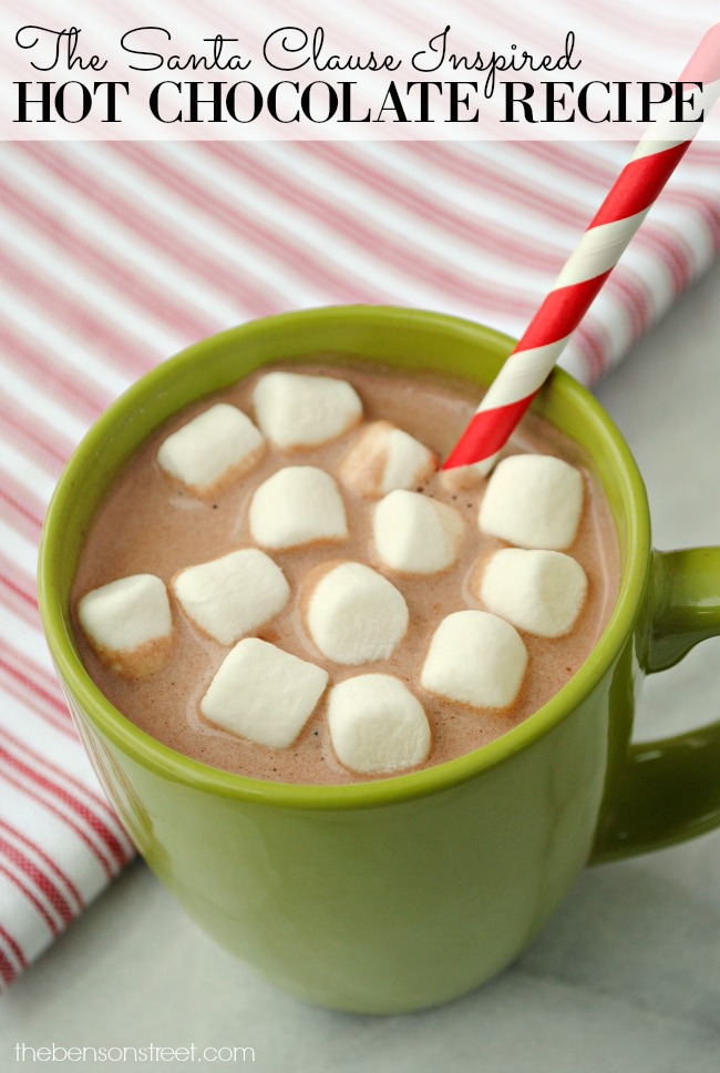 Yummy Hot Chocolate Mix Recipe inspired by The Santa Clause movie. Perfect for the holidays and all winter long. Get the recipe at thebensonstreet.com
