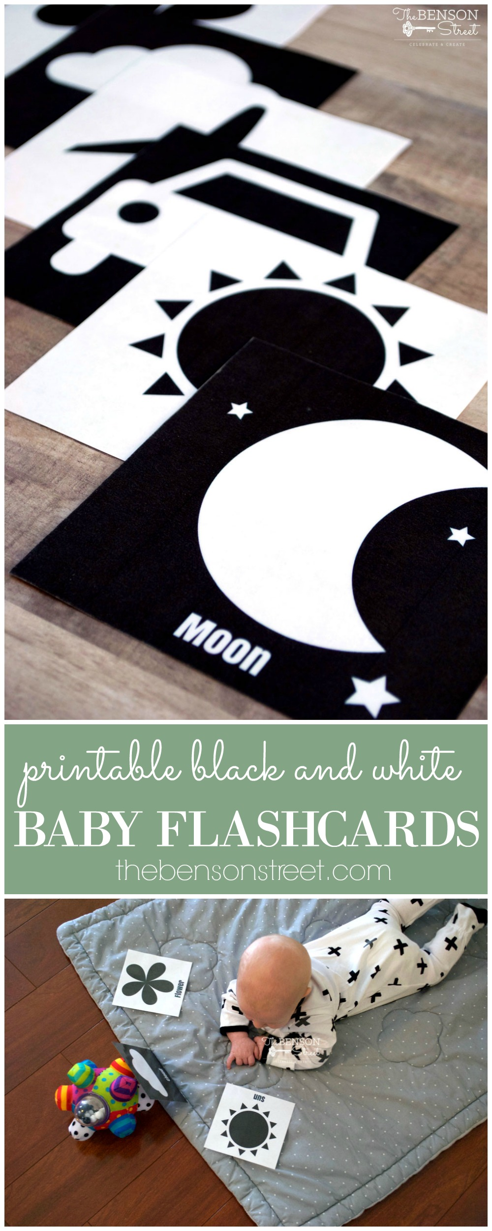 image about Printable Baby Flash Cards named Black and White Child Flashcards - The Benson Road