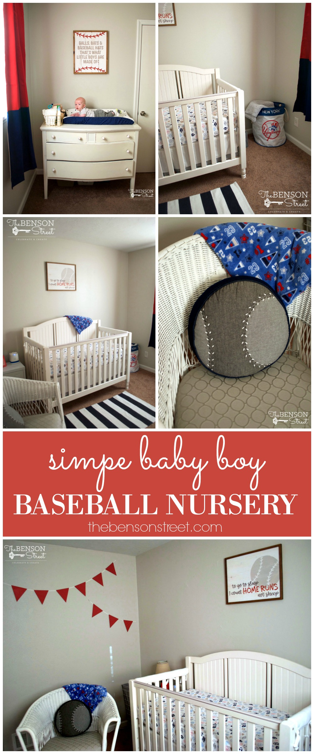An adorable theme for a baby boy's nursery is baseball or sports themed. Check out this cute and simple baby boy baseball nursery by thebensonstreet.com #baseballnursery #babyboynursery #boynursery #babyroom #sportsnursery #sportynursery #sportybabyboynursery #nurserydecor #babydecor #thebensonstreet