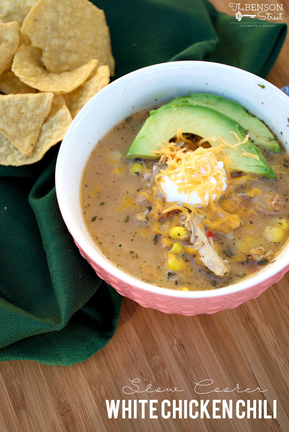 A filling, easy, and delicious dinner recipe for slow cooker white chicken chili. Full of lots of nutritious veggies, beans, and more.Get the recipe at thebensonstreet.com