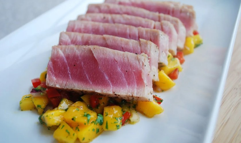 Pan Seared Tuna with Tomato, Avocado & Cilantro Salsa
