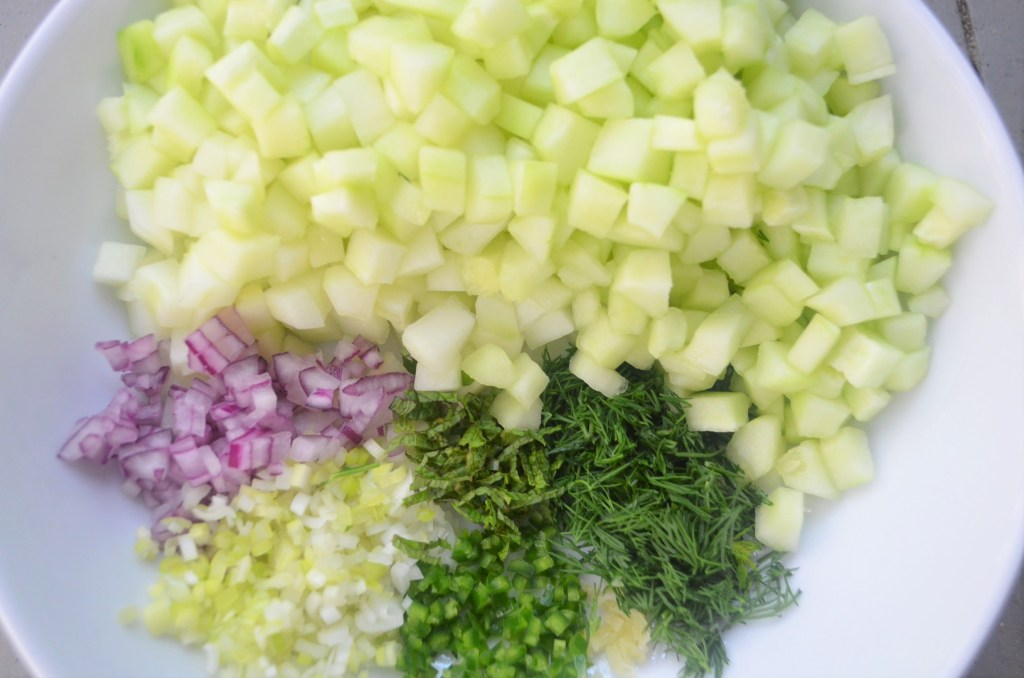 Chilled Creamy Cucumber Yogurt Soup Vegetables and herbs ready for pureeing
