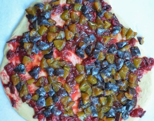 Holiday plum challah dough with plum compote and diced plums