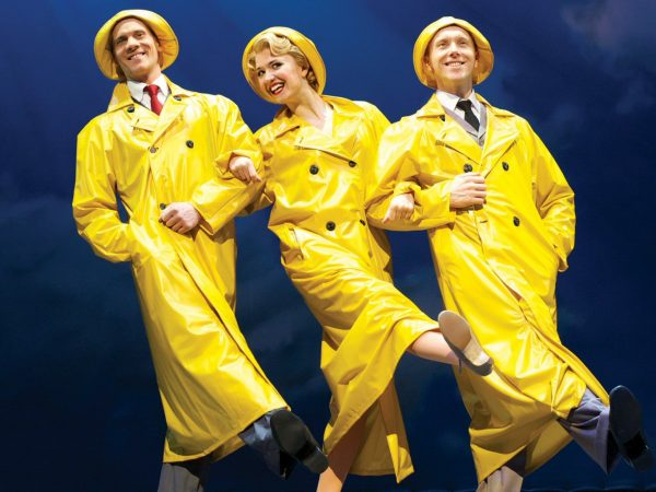 Adam Cooper (Don Lockwood), Scarlett Strallen (Kathy Seldon) and Daniel Crossley (Cosmo Brown) in Singin' in the Rain at the Palace Theatre. Photo credit Manuel Harlan 2