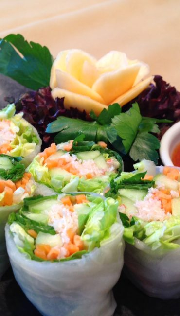 Steamed spring roll with prawns