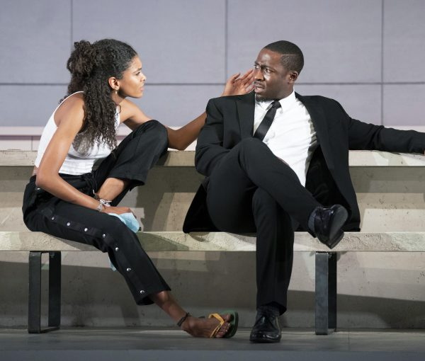 4127 Eric Kofi Abrefa as Jean and Thalissa Teixeira as Kristina in Julie at the National Theatre (c) Richard H Smith