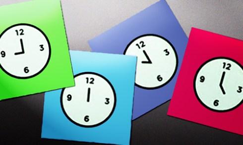brightly colored paper clocks