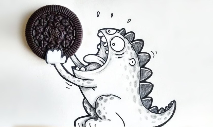 The Best Advice So Far - do not feed - sketched baby dragon comic eating a cookie