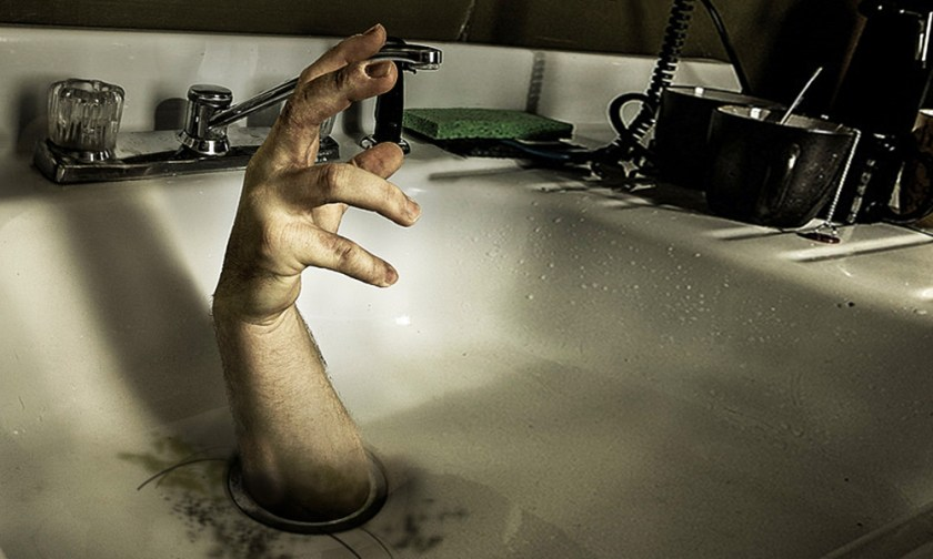 The Best Advice So Far - drain - male human hand reaching up out of kitchen sink drain