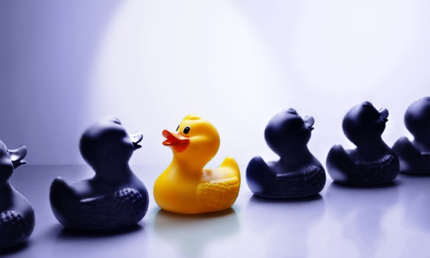 The Best Advice So Far - reverse - one yellow rubber ducky swimming the opposite direction in a line of black rubber ducks