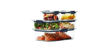 10-Piece Set Rubbermaid Brilliance Food Storage Container (100% Leak-Proof, Plastic, Clear)